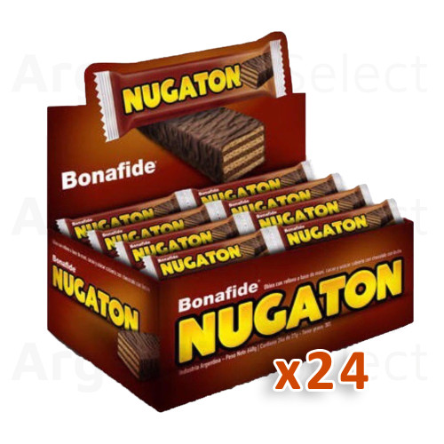 Nugaton Candy Bar with Peanut Butter, Cacao and Chocolate Coated, 27 g / 0.95 oz (Complete Box of 24). Argentina Select.
