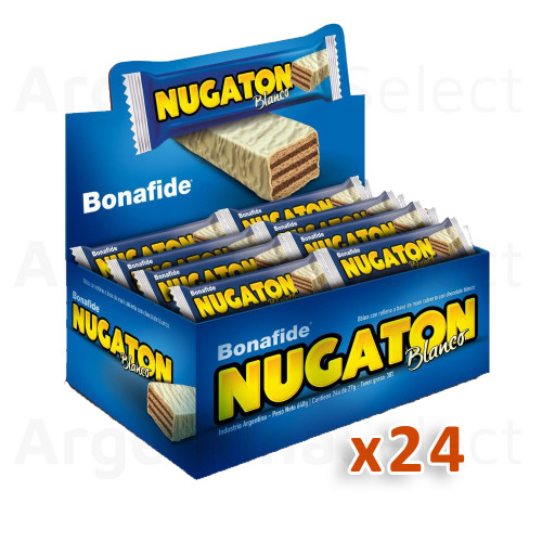 Nugaton Candy Bar with Peanut Butter, Cacao and White Chocolate Coated, 27 g / 0.95 oz (Complete Box of 24). Argentina Select.