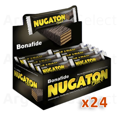 Nugaton Black Candy Bar with Peanut Butter, Cacao and Chocolate Coated, 27 g / 0.95 oz (Complete Box of 24). Argentina Select.