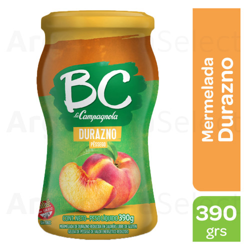 BC La Campagnola Mermelada de Durazno Light, 390g. / 13.7 oz Light Peach Jam. Argentina Select.