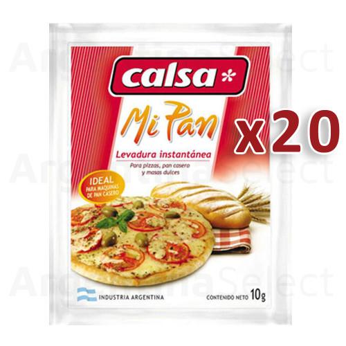 Calsa Levadura Mi Pan en Polvo Dry Instant Yeast, 200g / 7 oz (Caja 20 sobres de 10g.). Argentina Select.
