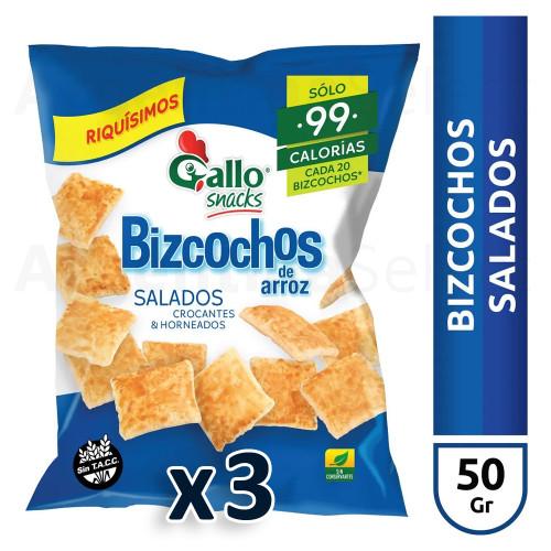Gallo Bizcochos Galletas Arroz Salado Salted Gluten-Free Sin TACC Crocante Horneadas Baked, 50 g / 1.75 oz ea (pack of 3). Argentina Select.