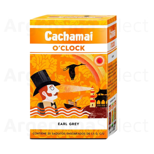 Te Cachamai O´Clock Premium - Earl Grey (30 gr). Pack x 20. Earl Grey Tea. Argentina Select.
