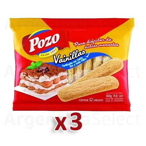 Pozo Vainillas Galletitas Soft Sprinkled Sugar Cookies Vanilla Flavor Classic Argentinian Vintage Cookies, 160 g / 5.6 oz (pack of 3). Argentina Select.