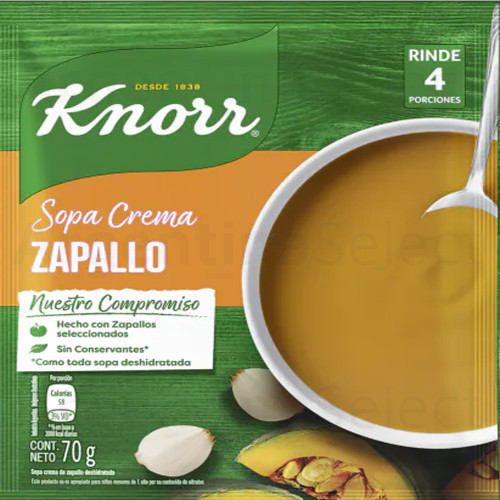 Knorr Sopa Crema de Zapallo (Sobre 70 gr). Pumpkin Cream Soup. Argentina Select.