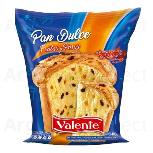 Valente Pan Dulce con Frutas Classic Panettone with Fruits Spanish Style Cake, 400 g / 14.11 oz. Argentina Select.