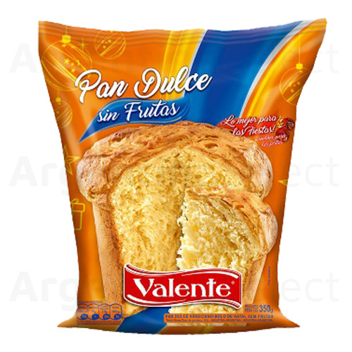 Valente Pan Dulce sin Frutas Classic Panettone without Fruits Spanish Style Cake, 400 g / 14.11 oz. Argentina Select.