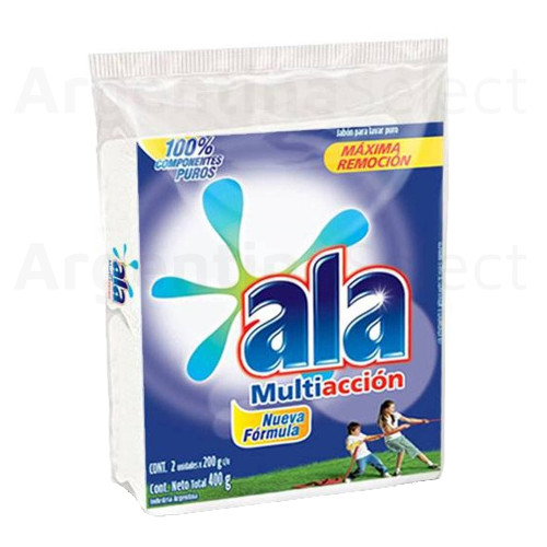 Ala Jabón Blanco en Pan Pure Soap Bar for hand cleaning Multi-Action Laundry, 400g. / 14.1 oz (2 unidades). Argentina Select.