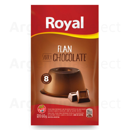 Royal Chocolate Ready to Make Flan, 8 porciones/servings, 60 g / 2.11 oz. Argentina Select.
