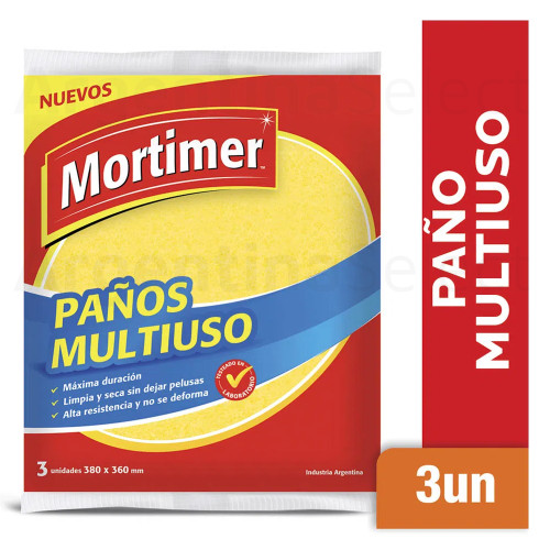 Mortimer Paño Multiuso Houseware Cleaning Rag Highly Absorbent, 380mm x 360mm / 14.9 in x 14.1 in (3 unidades). Argentina Select.