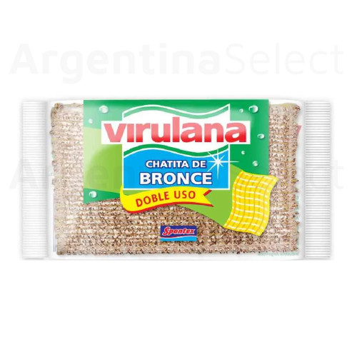 Virulana Esponja Chatita de Bronce Multiuse Bronze Sponge Ideal for Daily Dishwashing Extra Duration. Argentina Select.