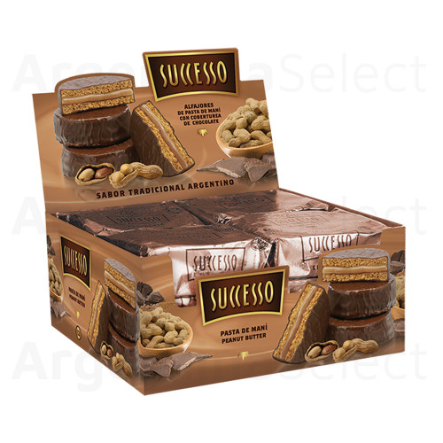 Successo Alfajor de Chocolate Relleno con Pasta de Mani (Box of 12). Kosher. Sólo en Argentina Select.