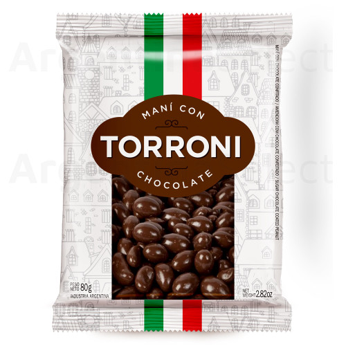 Torroni Maní con Chocolate Peanuts with Chocolate, 80 g / 2.82 oz. Argentina Select.