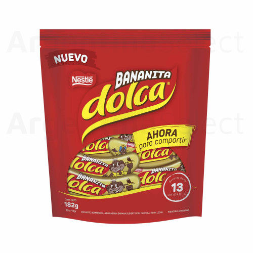 Bananita Dolca Banana Cream Filled with Chocolate Coating Small Baby Sized, 13 x 14 g / 0.5 oz ea (bag of 13). Argentina Select.