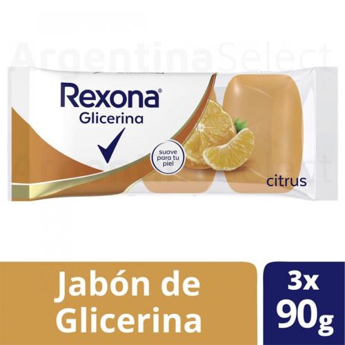 Rexona Jabón de Glicerina Citrus Glycerin Soup Bar, 90 g / 3.17 oz ea (pack of 3). Argentina Select.
