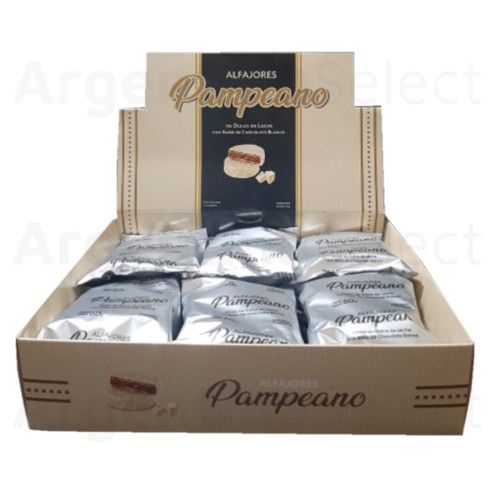 Pampeano Alfajor de Chocolate Blanco Relleno de Dulce de Leche Artesanal 60 g / 2.11 oz ea (Box of 12). Argentina Select.