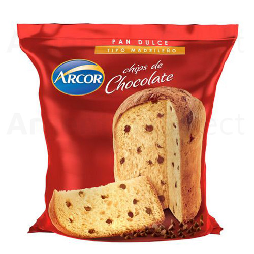 Arcor Pan Dulce Madrileño con Chips de Chocolate Sweet Panettone With Chocolate Chips Style Cake, 400 g / 14 oz. Argentina Select.