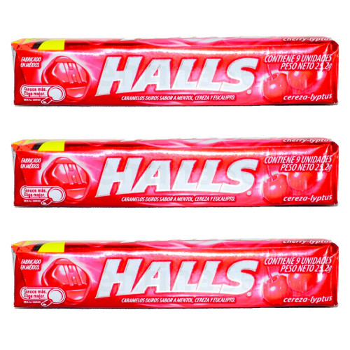 Halls Caramelos Cereza - Cherry Hard Candy. Pack x 3. Argentina Select.