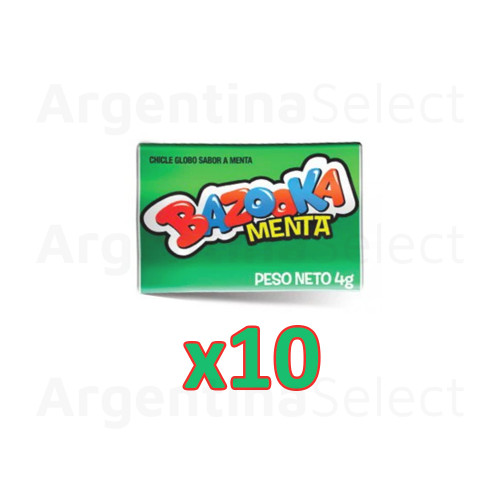 Bazooka Chicle Globo Menta Mint Bubblegum, 4 gr. (pack x 10). Argentina Select.