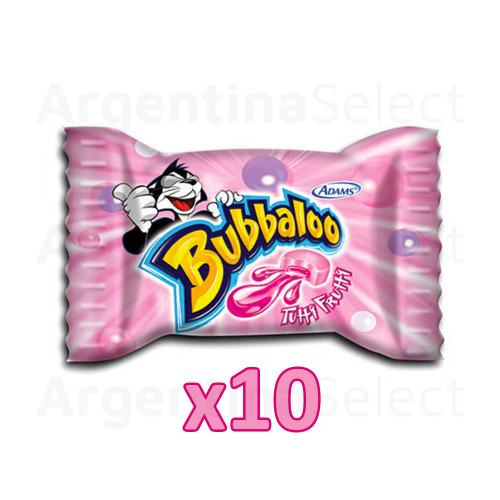 Bubbaloo Chicle Globo Tutti-Frutti Bubblegum, 5 gr. (pack x 10). Argentina Select.