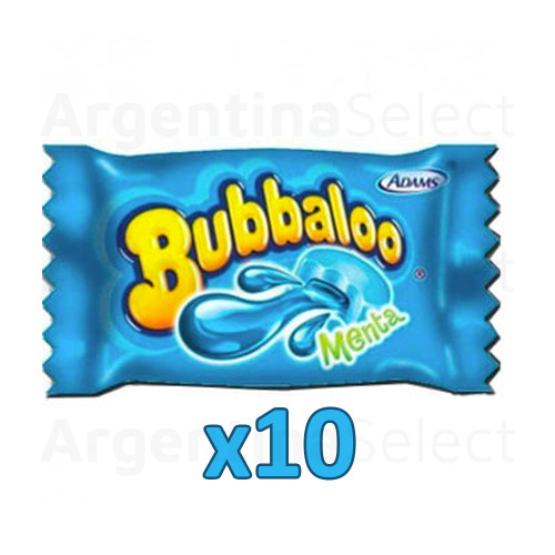 Bubbaloo Menta Chicle Globo Mint Bubblegum, 5 gr. (pack x 10)