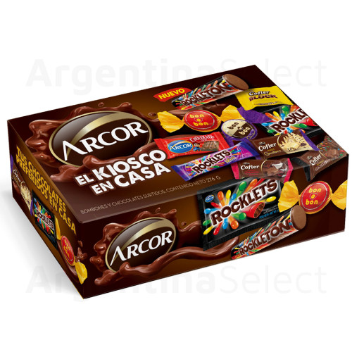 Arcor Bombones y Chocolates Surtidos Assorted Chocolate Bites, 266 gr Box. Bon o Bon, Rocklets, Cofler, Block, etc. Argentina Select.