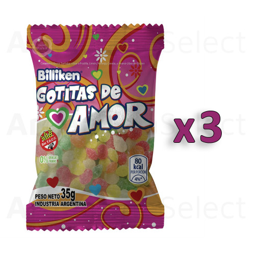 Billiken Gotitas De Amor Hard Candy Assorted Flavors Strawberry, Lemon, Orange, Cherry & Pineapple, 35 g / 1.23 oz ea (pack of 3). Argentina Select.