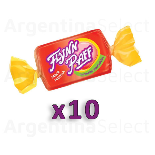 Caramelos Flynn Paff Strawberry Flavored Soft Candy, 8 g / 0.28 oz ea (Pack of 10). Argentina Select.