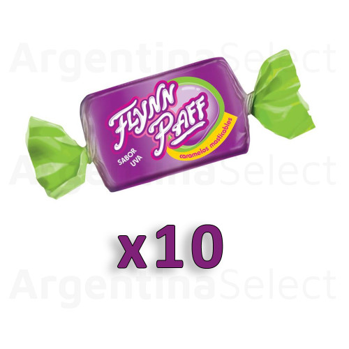 Caramelos Flynn Paff Uva Grape Flavored Soft Candy, 8 g / 0.28 oz ea (Pack of 10). Argentina Select.