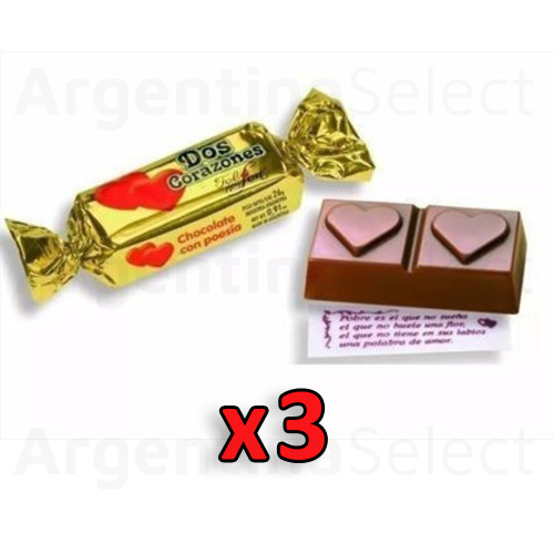 Dos Corazones Bombones Milk Chocolate Bites Filled with Vanilla Cream by Felfort, 26 g / 0.9 oz (Pack of 3). Argentina Select.