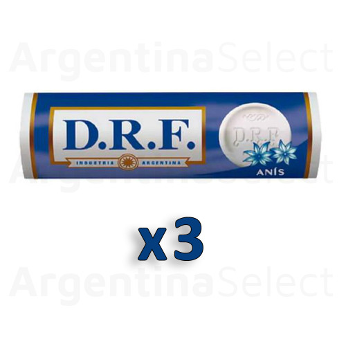 DRF Pastillas Anís Candy Pills Anise 23 g. / 0.81 oz ea (Pack of 3). Argentina Select.