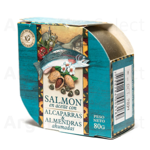 Granjas Patagónicas Salmón en Aceite c/Alcaparras & Almendras Ahumadas, 80 g / 2.82 oz. Argentina Select.