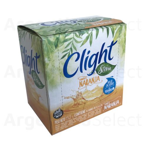 Polvo para preparar bebida analcohólica artificial dietética de bajas calorías, sin azúcar, con Stevia, sabor a naranja. Libre de gluten.Sin TACC. Caja x 20 sobres.