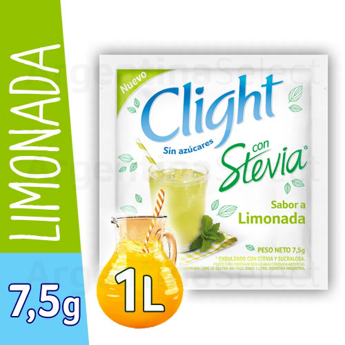 Jugo Clight en Polvo Limonada Stevia 7.5 Gr (box of 20). Argentina Select.