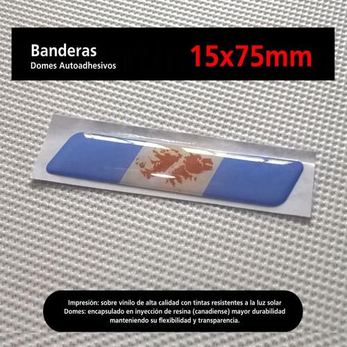 Sticker Calcomanía Resinada Bandera Argentina con Islas Malvinas de 15mm. x 75mm. Argentina Select.