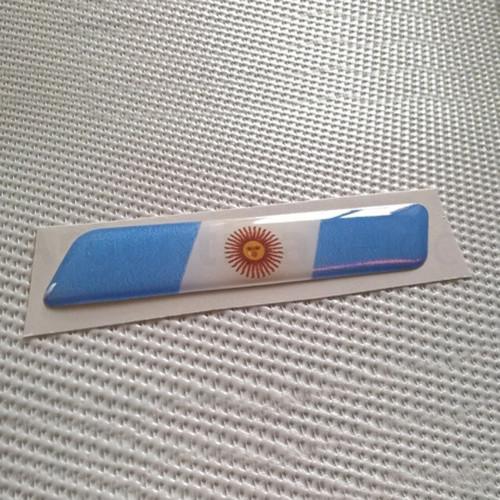 Sticker Calcomanía Resinada Bandera Argentina con Sol de 10mm. x 70mm. Argentina Select.