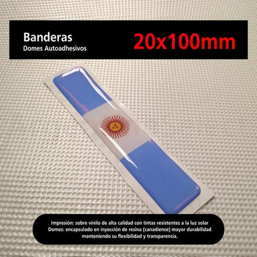 Sticker Calcomanía Resinada Bandera Argentina con Sol de 20mm. x 100mm. Argentina Select.
