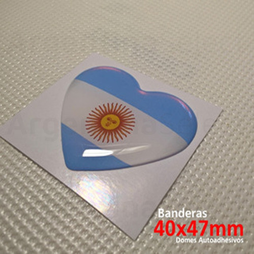 Sticker Calcomanía Resinada Corazón Argentino de 40mm. x 47mm. Argentina Select.