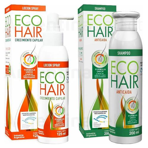 Eco Hair Combo Anticaida Crecimiento Cabello Locion+Shampoo EcoHair. Desarollado bajo patentes del CONICET. Sólo en Argentina Select.