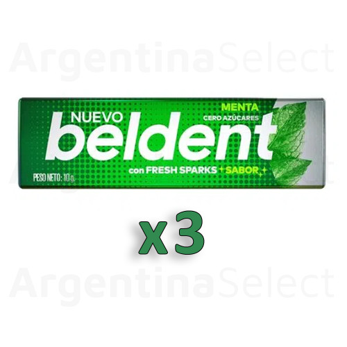 Beldent Chicle de Menta c/Fresh Sparks Bubblegum - Sin Azucar, 10 g / 0.35 oz (Pack of 3). Argentina Select.