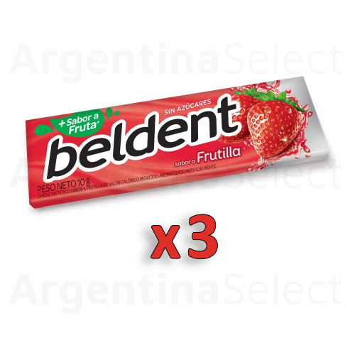 Beldent Chicle de Frutilla c/Fresh Sparks Bubblegum - Sin Azucar, 10 g / 0.35 oz (Pack of 3). Argentina Select.