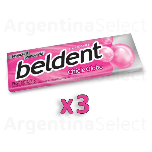 Beldent Chicle de Tutti Fruti c/Fresh Sparks Bubblegum - Sin Azucar, 10 g / 0.35 oz (Pack of 3). Argentina Select.