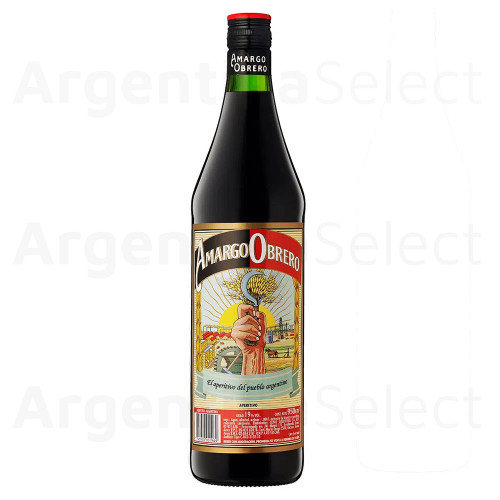 Amargo Obrero Aperitivo Appetizer Bitter Drink Made with Herbs Ideal for Cocktails with Soda Water or Cola- ABV 19%, 950 ml / 32.12 fl oz. Argentina Select.