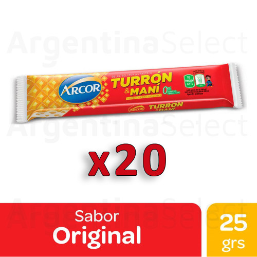Turrón & Maní Arcor Bar with Hard Peanut Cream and Biscuit, 25 g / 0.9 oz (pack of 20). Argentina Select.