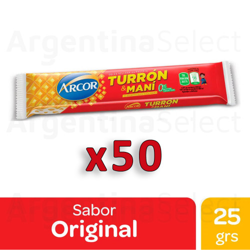 Turrón & Maní Arcor Bar with Hard Peanut Cream and Biscuit, 25 g / 0.9 oz (Complete Box of 50). Argentina Select.