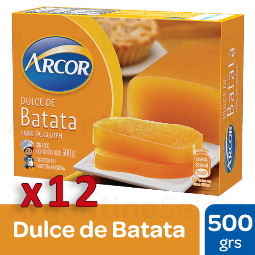 Arcor Dulce de Batata Sweet Potato Jelly with Subtle Vanilla, 500 g / 1.1 lb sealed bar (Complete Box of 12). Argentina Select.
