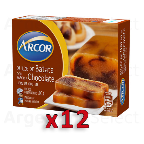 Arcor Dulce de Batata Sweet Potato Jelly with Vanilla and Chocolate, 500 g / 1.1 lb sealed bar (Complete Box of 12). Argentina Select.