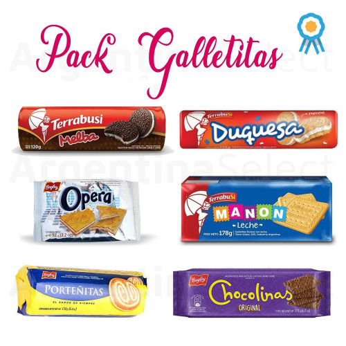 Combo 2 Galletitas Dulces Argentinas x 6. Sweet Argentinian Classic Cookies. Argentina Select.