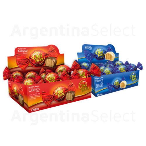 ObliBon Chocolate Bites Filled With Peanut Butter Box of 30 Bites. Kosher Product. Argentina Select Exclusive.