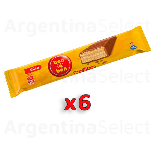 Bon o Bon Oblea Snack Chocolate Filled With Peanut Butter, 30 g / 1.05 oz (Pack of 6). Argentina Select.